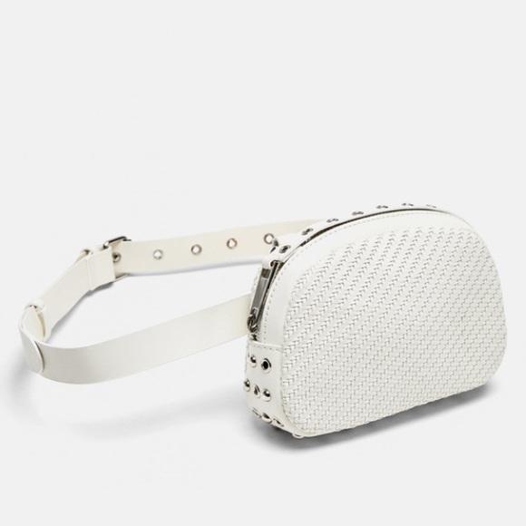 Zara Handbags - Zara white braided crossbody belt bag
